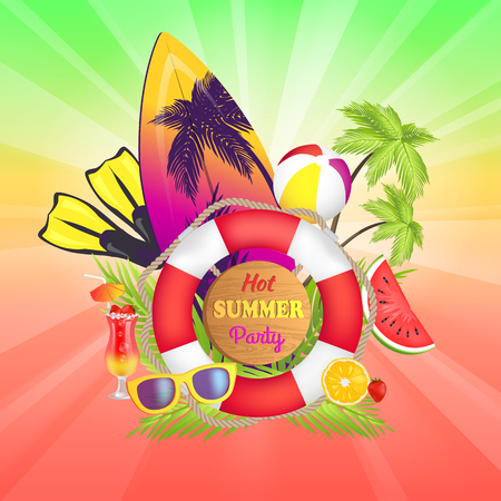 Hot summer party banner text, surfboard and flippers, ball and palm tree, cocktails and sunglasses, hot summer days, isolated on vector illustration