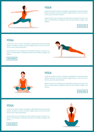 Yoga pages collection web internet sites set with headlines text sample and buttons woman keeping fit vector illustration isolated on white background