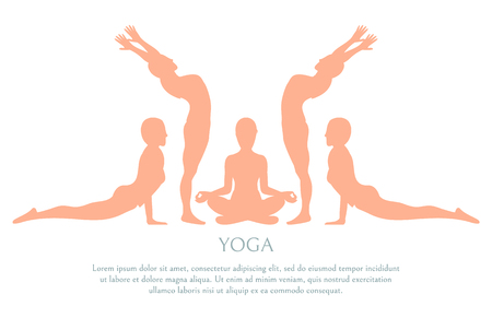 Yoga silhouette poster text sample lotus and poses allowing become peaceful, banner with set of poses vector illustration isolated on white background Ilustrace