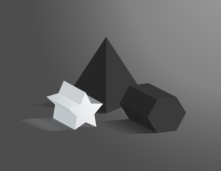 Three geometric prisms set vector illustration, black and white figures, pentagrammic and pentagonal prisms, square pyramid, isolated on dark backdrop