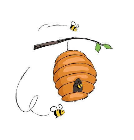 Bienen, die in den Bienenstock fliegen, der an der Zweigvektorillustration hängt, lokalisiert auf Weiß. Heimat für Insekten, wo Honig produziert wird, Biene im Cartoon-Stil Design