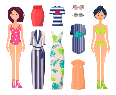 Girls in swimwear with spare stylish summer clothes set. Female characters with casual and elegant clothes. Girls in swimsuits vector illustrations.