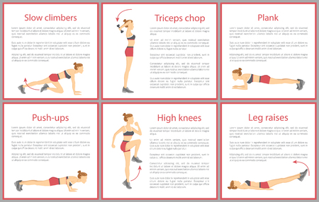Slow climbers and plank, tabata triceps chop, push ups and high knee, leg raises posters collection, posters tabata isolated on vector illustration