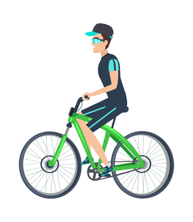 Cheerful biker on green vehicle isolated on white background, vector illustration with cute bike, bright glasses, cap with blue visor, grey chain