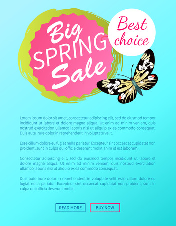 Best choice big spring sale label with butterfly, day-flying moth with wings vector illustration voucher advertisement online web poster push button