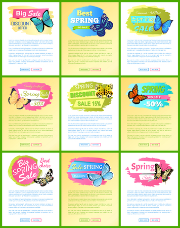 Big sale discount offer web pages collection and headlines, text sample and spring big sale discount vector illustration isolated on yellow background