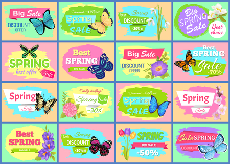 Spring big sale posters collection with butterflies types, snowdrops and tulips, spring sale and discount offers, isolated on vector illustration