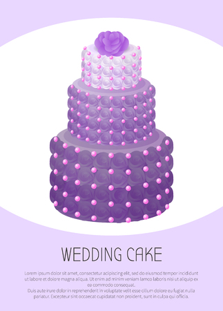 Wedding cake of purple color with roses as decoration and big dots on contours, sweet bakery for special occasion, vector illustration isolated Ilustração