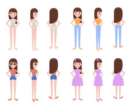 Girl model in summer clothes all foreshortening. Stylish casual summer outfits on young female character isolated cartoon vector illustrations set.