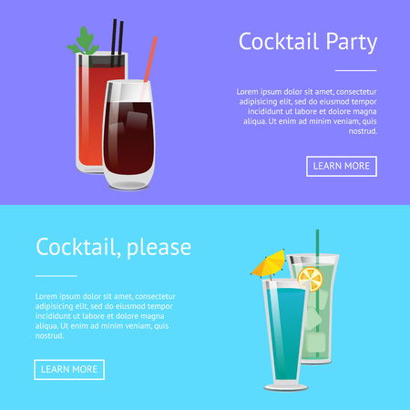 Cocktail party posters set bloody mary, whiskey or vodka cola, blue lagoon and mojito beverage drinks in glasses vector illustration web page design Illustration