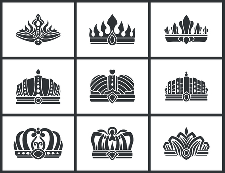 Kings and queens monochrome crowns set inlaid with gems. Colorless heraldic crowns of standard and unusual design precious stones vector illustration Illustration