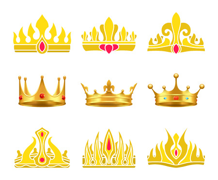 Kings and queens gold crowns inlaid with gems. Shiny heraldic crowns of standard and unusual designs with precious stones vector illustrations set.
