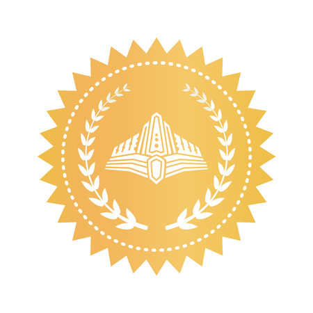 Medieval diadem and laurel branches on gold stamp. Royal warranty sign with crown. Golden seal with luxurious diadem isolated vector illustration. Foto de archivo - 104519212