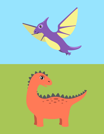 Dinosaur and pteranodon set, dinosaurs of different types, flying prehistoric creature and animal with spikes vector illustration isolated on blue