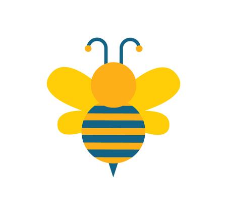 Biene mit Flügeln und Streifen, Antenne und Biene mit Verzierungen auf Körper, Insekt mit Flügeln, die in der Lage sind, Vektorillustration lokalisiert auf weißem Hintergrund zu fliegen Vektorgrafik