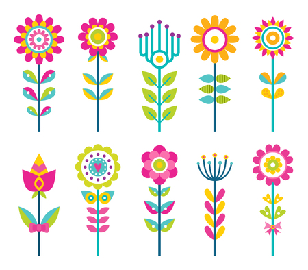Wild field flowers in colorful ornamental design set. Unusual flowers of bright pieces. Plant with blossom on long stem isolated vector illustrations.