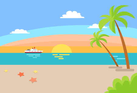 Cruise ship sailing in ocean, summer beach landscape with blue sea, hot sand and endless sky clouds, palm trees, tropical beach vector summer scenery Illustration