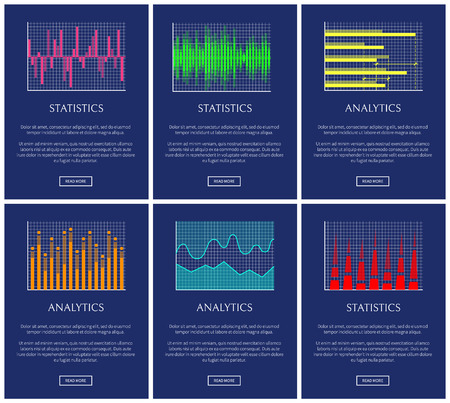 Statistics and analytics, color graphs collection, vector illustration arrows, financial indexes graphs business informatio varied statistics data set