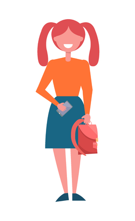 Redhead schoolgirl with two ponytails full length portrait, female student with backpack and smartphone in hands vector illustration cartoon character Ilustração