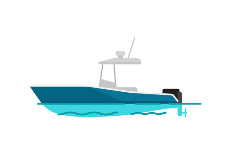 Pretty sea boat color template vector illustration with white and blue vessel, black motor, cute waves, grey cabin with antenna, bright background Иллюстрация