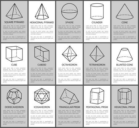 Conjunto de figuras, esfera y cono embotado, cubo y cuboide, ilustración vectorial, pirámides cuadradas y hexagonales, prisma triangular, figura cilíndrica y cónica