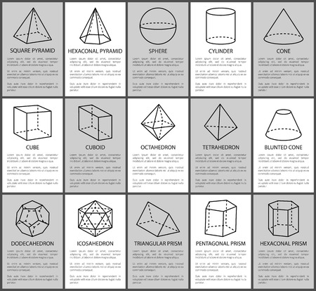 Figures set, sphere and blunted cone, cube and cuboid, vector illustration, square and hexagonal pyramids, triangular prism, cylinder and cone figure