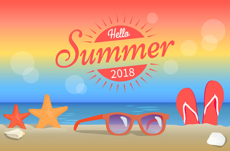 Hello Summer 2018 Poster Red Sunglasses on Beach