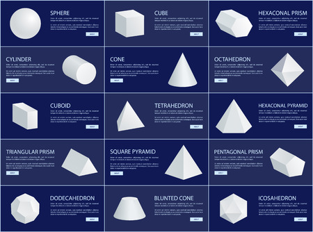 Cube and sphere cone and cuboid prisms collection, vector illustration tetrahedron and icosahedron dodecahedron octahedron and hexagonal prisms set