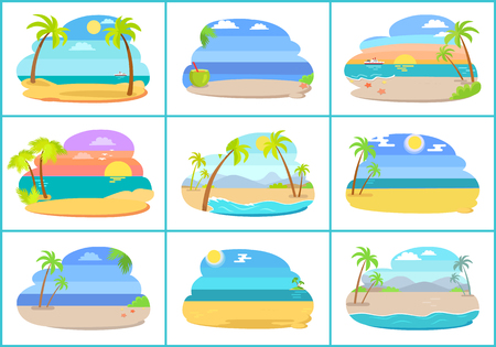 Tropical beaches with blue sea and tall palms. Hot countries with amazing sandy beaches. Beach resorts at sea shore isolated vector illustrations set.