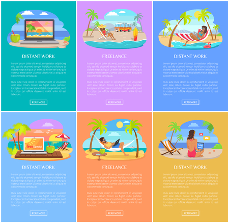 Distant work and freelance vertical posters set. People work at sandy beach under tall palms. Freelance work promotional banners vector illustrations.