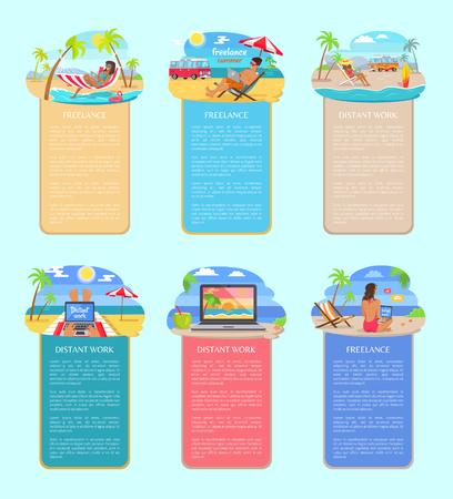 Freelance and distant work vertical posters set. men and women relax on beach and work on laptops. Freelancers in hot countries vector illustrations. Ilustrace
