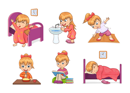 Girl and daily routine collection, waking up, brushing teeth, stretching and eating, studying and sleeping, daily routine set vector illustration Çizim