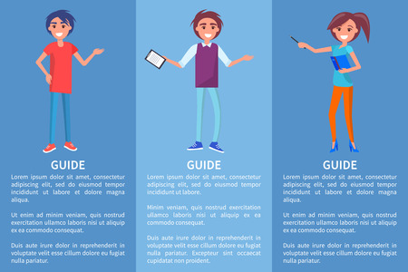 Guide in museum with pointer, folder with presentation, showing hand on something. Vector illustration of adult man and woman with text Standard-Bild - 104519217
