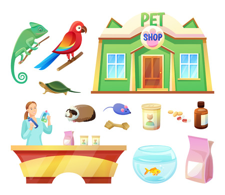 Pet shop animals and products to care of them. Food and toys for pets. Girl at check-out counter of pet shop. Exotic animals vector illustrations. Illustration