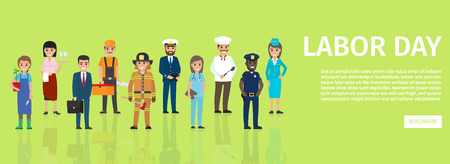 Labor day web banner with people professions. Different occupations cartoon characters in uniform and with implements flat vector. Workforce diversity illustration for holiday festival landing page