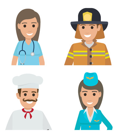 Professions people vector icons set. Different professions cartoon characters in uniform half-length portraits isolated on white background. Occupations flat illustration for labor day, job concepts