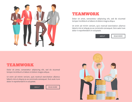 Teamwork Collection of Cartoon Posters with Text Illustration