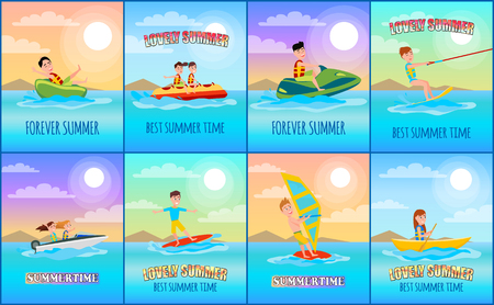 Forever summer collection of posters, banners and titles, banana boat and windsurfing, boating and donut ride, set isolated on vector illustration
