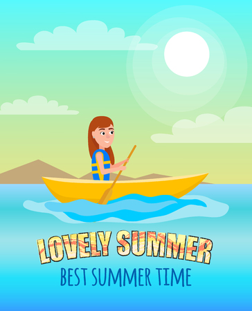 Lovely summer best summertime poster kayaking girl sitting in boat holding oar, kayaking and summer sport activity outside sport, vector at coastline Ilustração