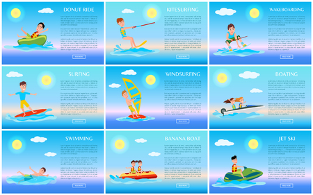 Surfing and jet ski, swimming and donut ride cards, kitesurfing and windsurfing, wakeboarding and boating, banana boat, sports vector illustration