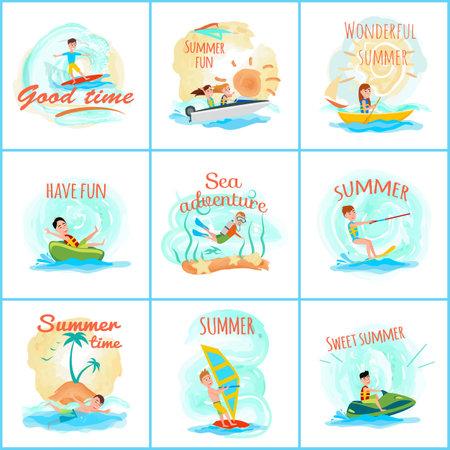 Sommerspaß und viel Spaß, Sammlung op Plakate mit Titeln, Surfen und Sommersport, Tauchen, Vektorillustration lokalisiert auf weißem Hintergrund