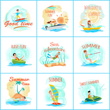 Summer fun and good fun, collection op posters with titles, surfing and summer sport, scuba diving, vector illustration isolated on white background