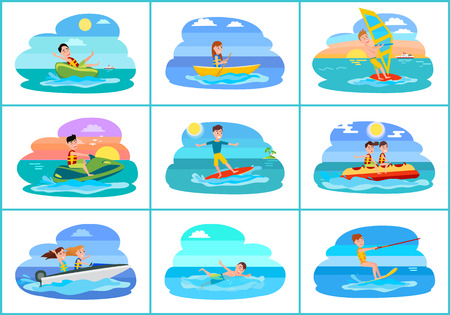 Sailboat and collection of sport set of summer activities boats and swimming surfing and kitesurfing, vector illustration isolated on white background