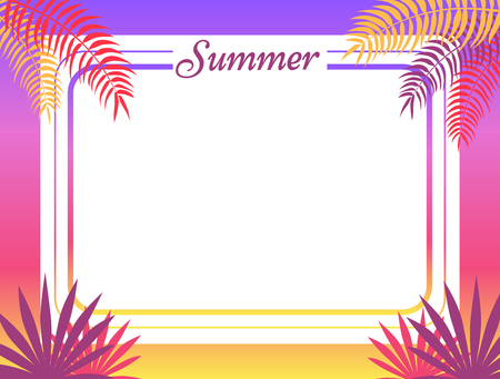Summer poster with place for text vector illustration. Red tropical leaves, exotic plants surround the frame of greeting card or advertisement banner Ilustração