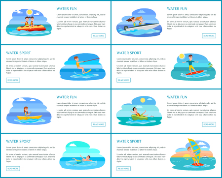 Water fun collection of web pages and text sample button and water sport and activities, set of web vector illustration isolated on white background Illustration