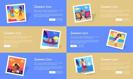 Summer love photos with happy young couple hugging and kiss on beach and just spending honeymoon together with texts vector web banner