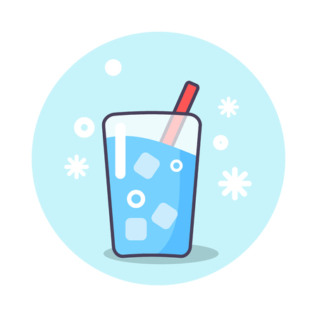 Circle poster showing refreshing drink. Vector illustration of glass of ice water with straw isolated on light blue background Illustration