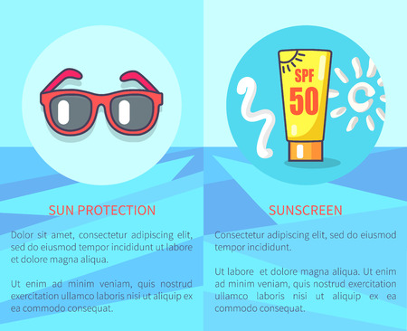 Set of sun protection and sunscreen posters with inscriptions. Vector illustration of circle icons depicting red sunglasses and spf sunblock lotion. Illustration