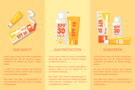 Set of sun safety protection sunscreen posters with inscriptions. Vector illustration depicting various types of spf sunblock lotions.