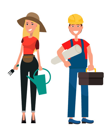 Gardener woman and builder man on white background. Female in hat holds fork and water can. Male in helmet holds tool box vector illustration  イラスト・ベクター素材